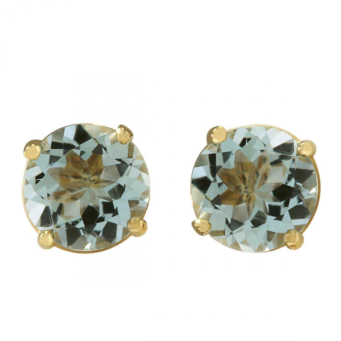 2.24CTW Natural Blue Aquamarine Earrings In 14K Yellow