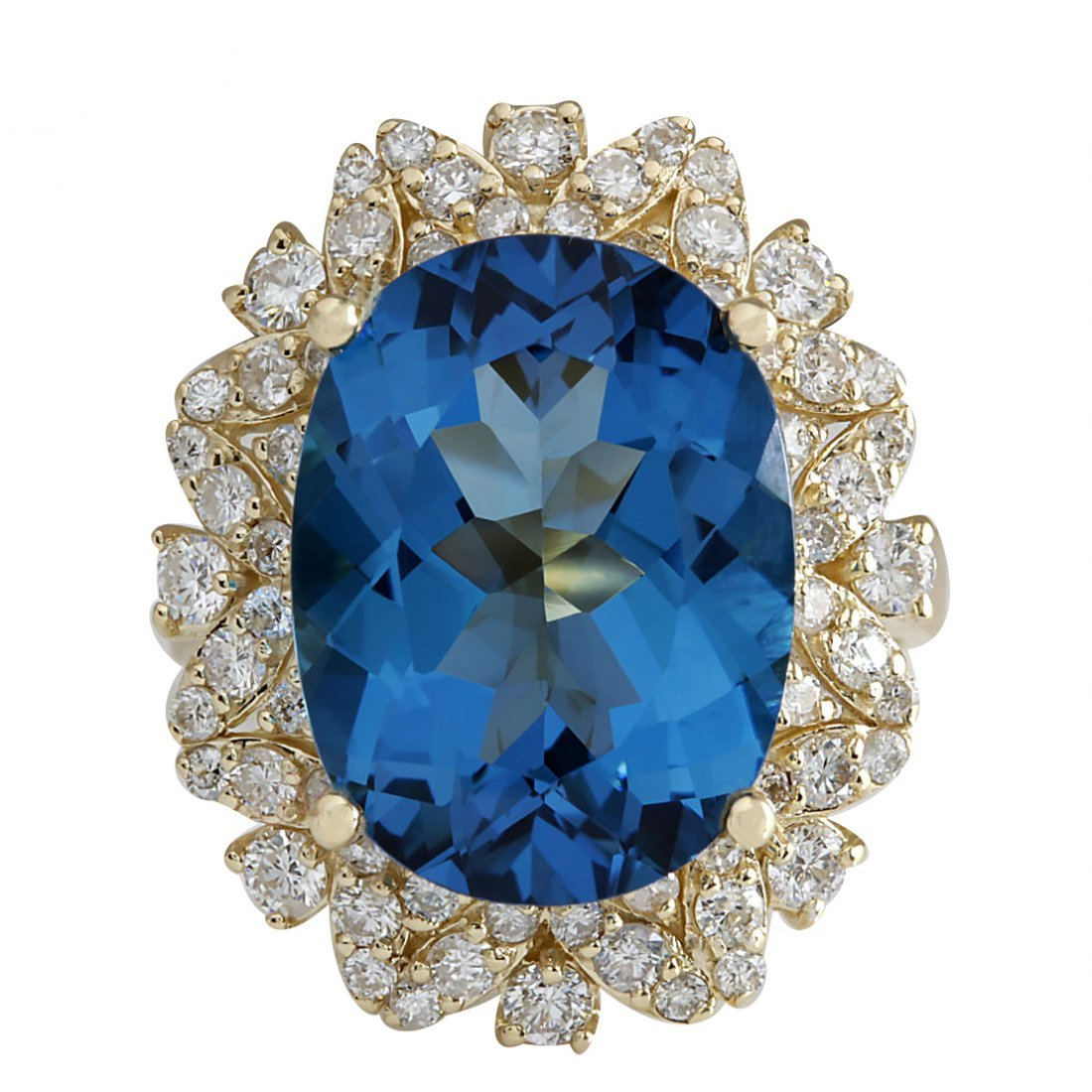 12.07Ct Natural London Blue Topaz And Diamond Ring