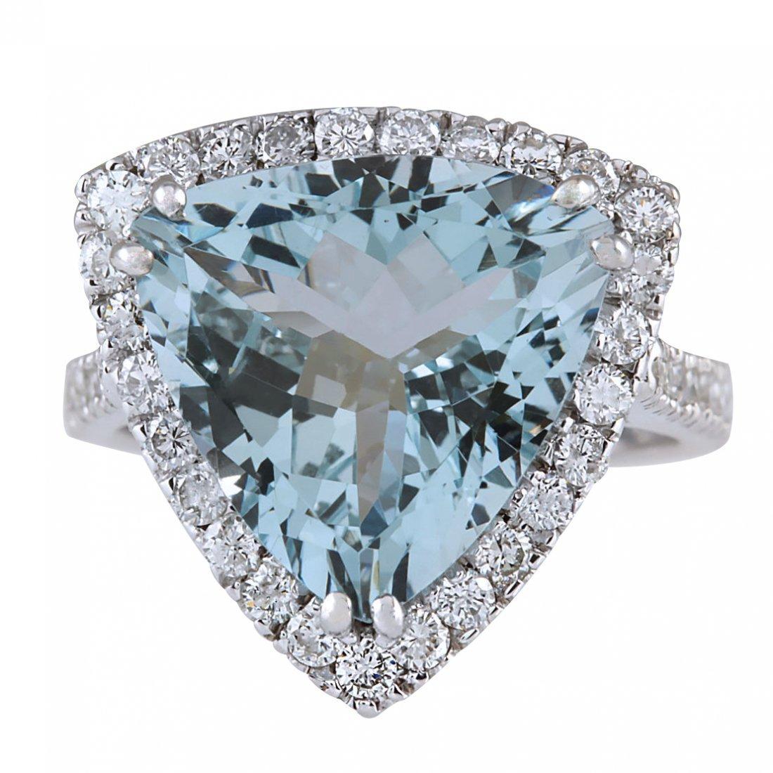 8.96CTW Natural Aquamarine And Diamond Ring In 14K