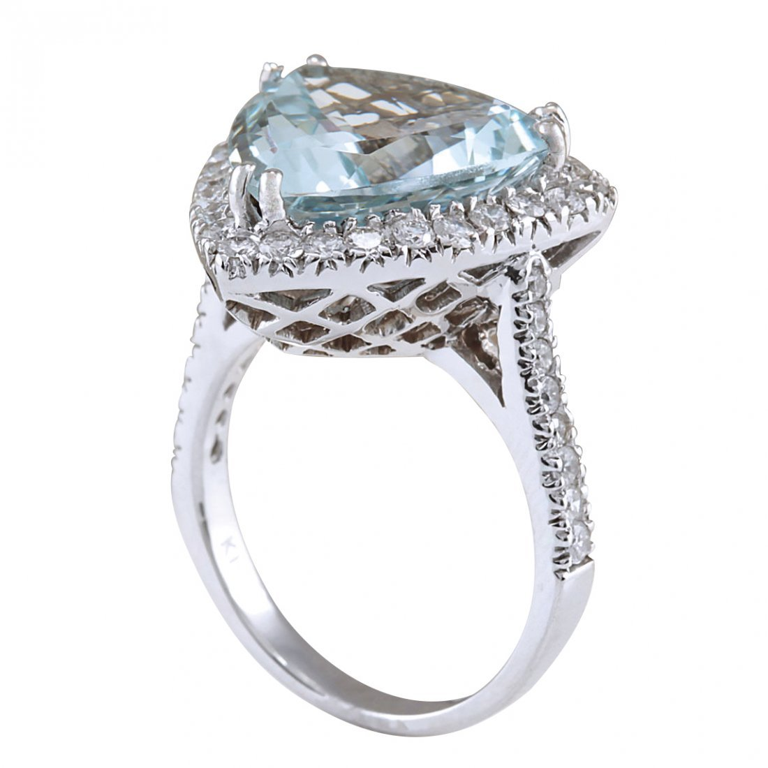 8.96CTW Natural Aquamarine And Diamond Ring In 14K - 3