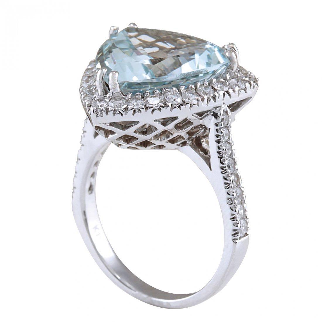 8.96CTW Natural Aquamarine And Diamond Ring In 14K - 3