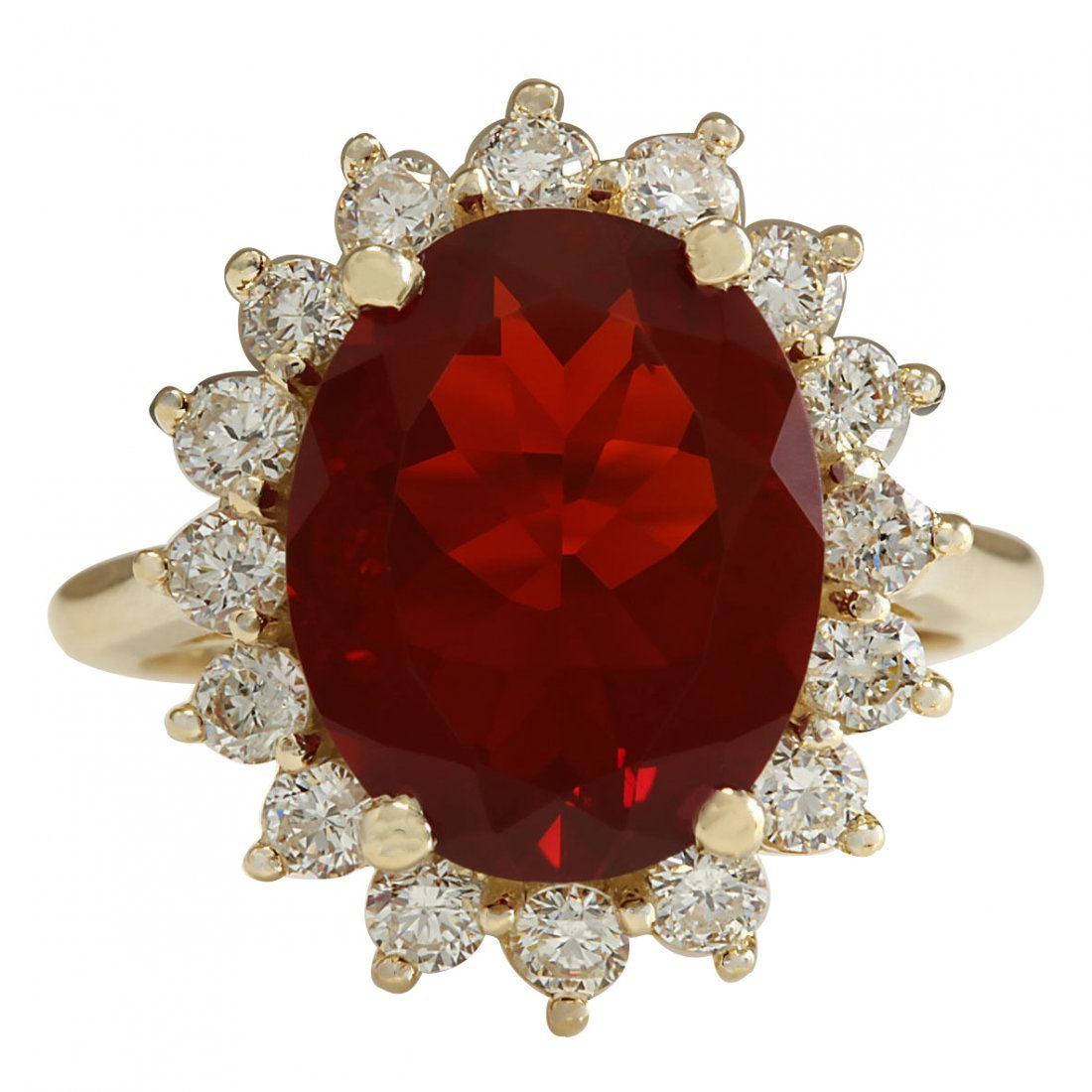 4.89CTW Natural Fire Opal And Diamond Ring 14K Solid