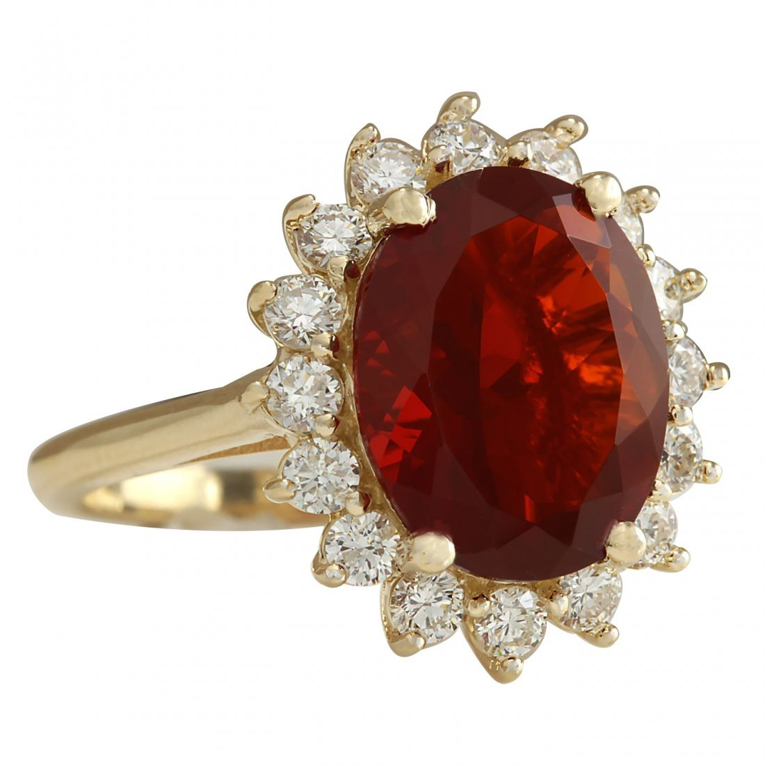 4.89CTW Natural Fire Opal And Diamond Ring 14K Solid - 2