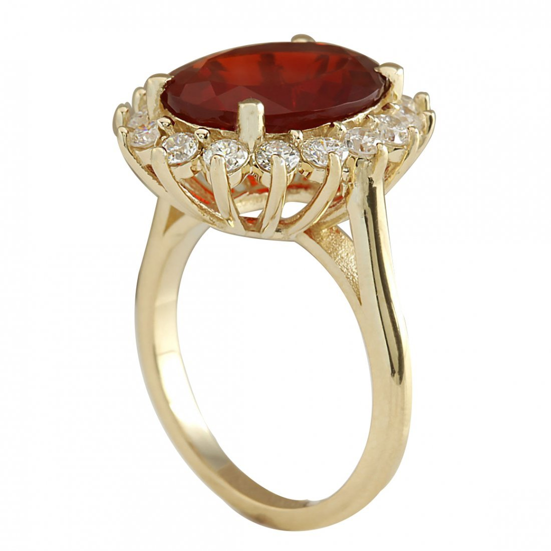 4.89CTW Natural Fire Opal And Diamond Ring 14K Solid - 3