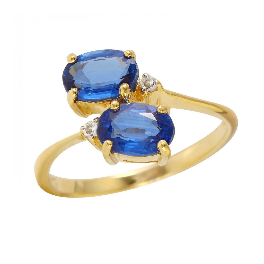 Ladies 2.06CTW Sapphire And Sapphire 14K Yellow Gold