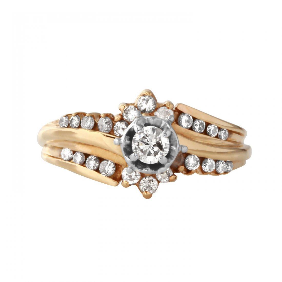 Ladies 0.52CTW Diamond 14K Yellow Gold Ring