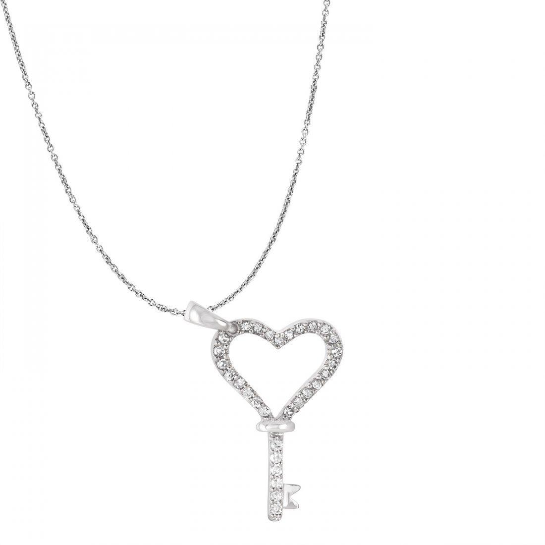 Ladies 0.15CTW Diamond 14K White Gold Necklace