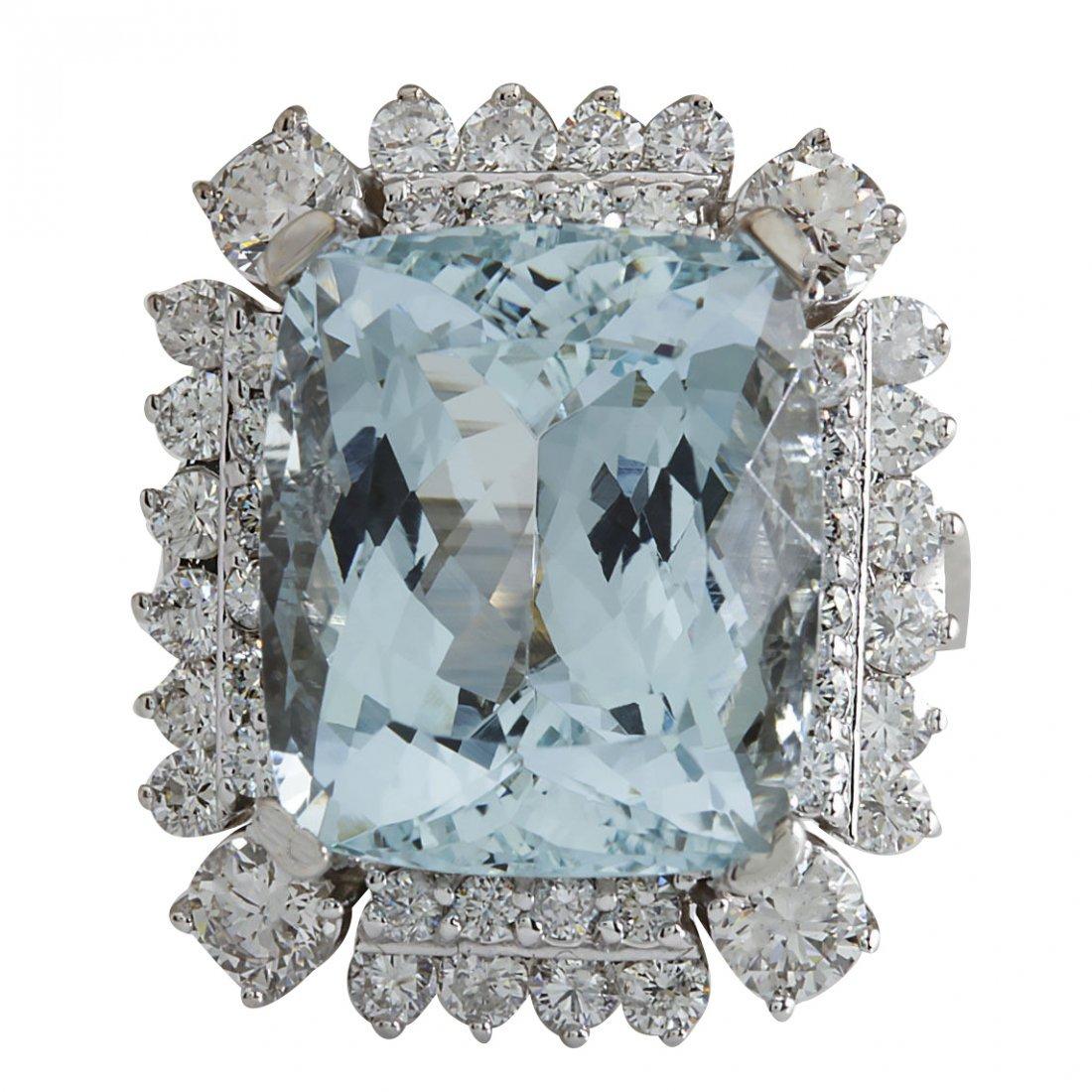 16.54CTW Natural Aquamarine And Diamond Ring In 14K