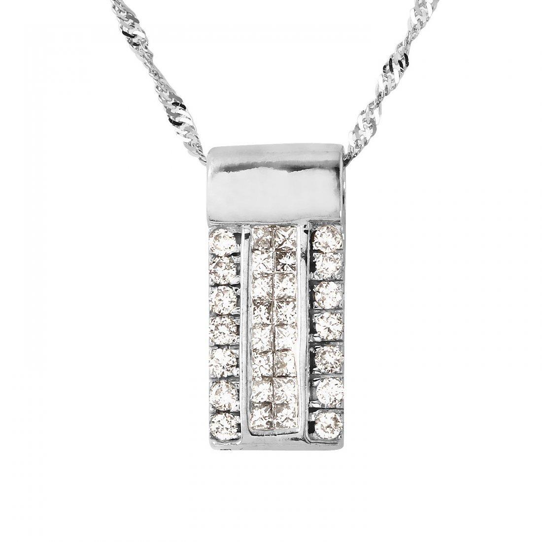 Ladies 0.76CTW Diamond 14K White Gold Necklace