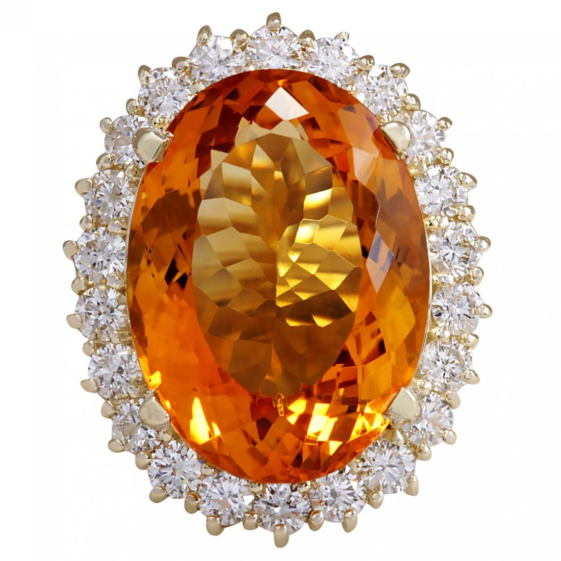 17.91CTW Natural Citrine And Diamond Ring In 14K Solid
