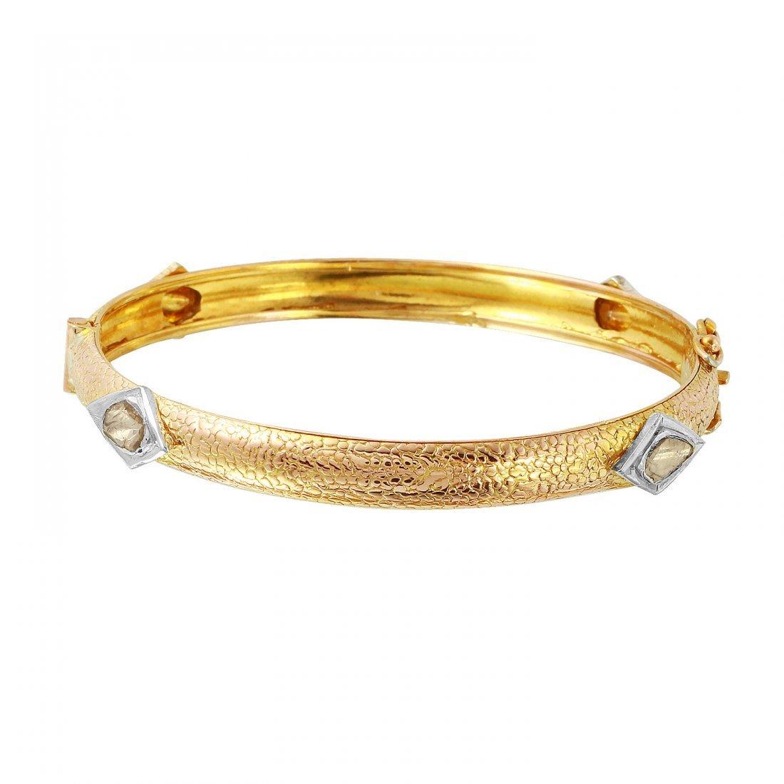Ladies 2CTW Rough Diamond 14K Three tone Gold Bracelet