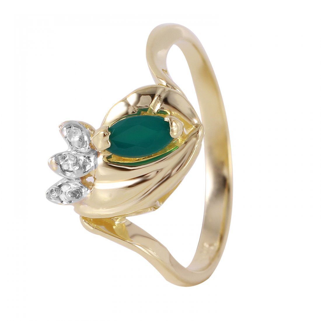 Ladies 0.25CTW Agate And Diamond 14K Yellow Gold Ring
