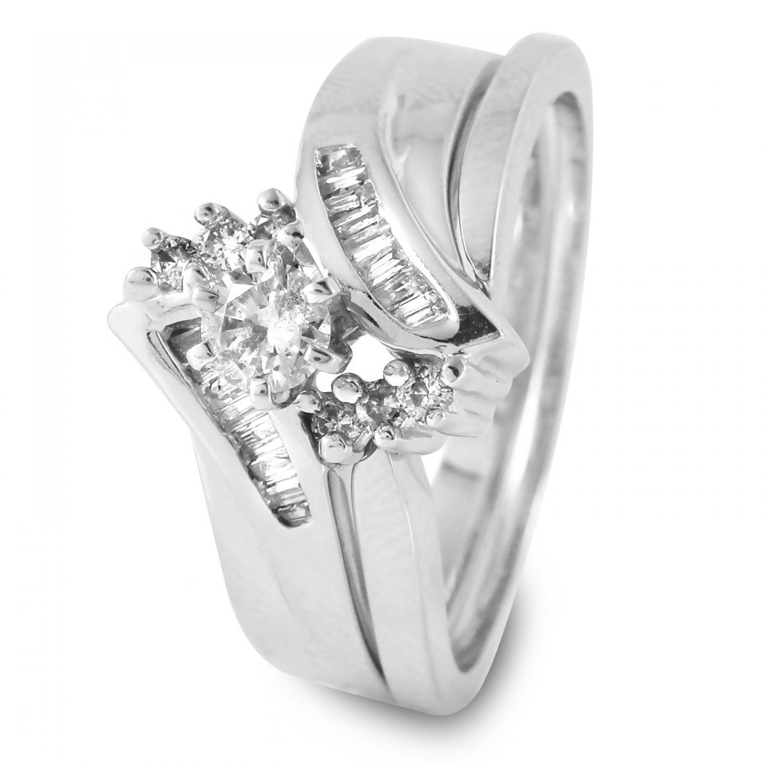 Ladies 0.46CTW Diamond 14K White Gold Ring