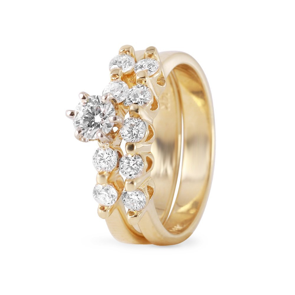 Ladies 0.95CTW Diamond 14K Yellow Gold Ring