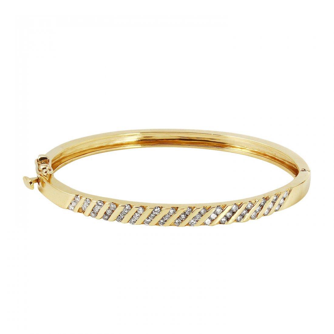 Ladies 1CTW Diamond 14K Yellow Gold Bracelet