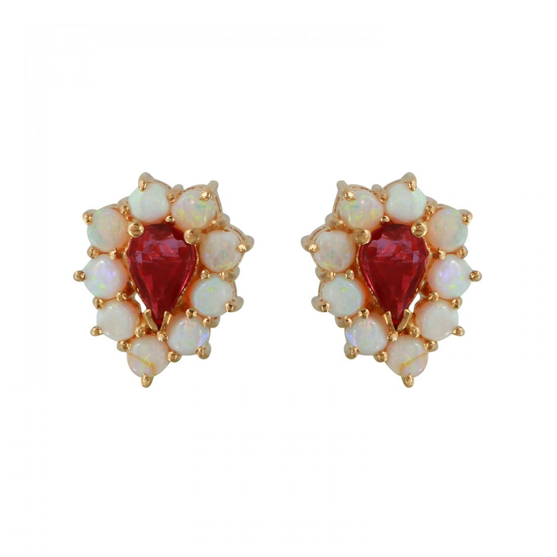 Ladies 1.32 CTW Ruby And Opal 14K Yellow Gold Earrings