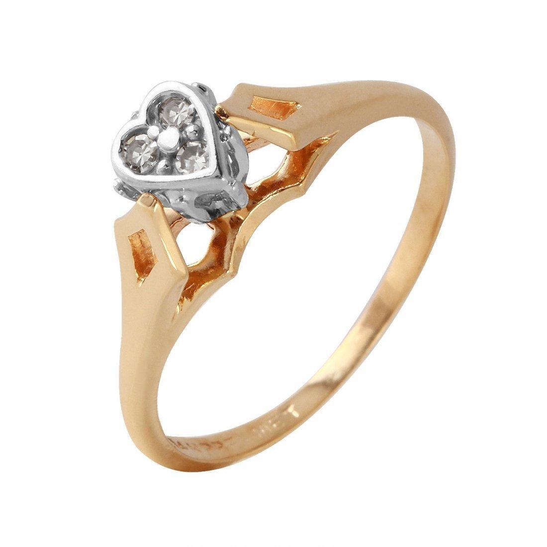 Ladies 0.1CTW Diamond 14K Two tone Gold Ring