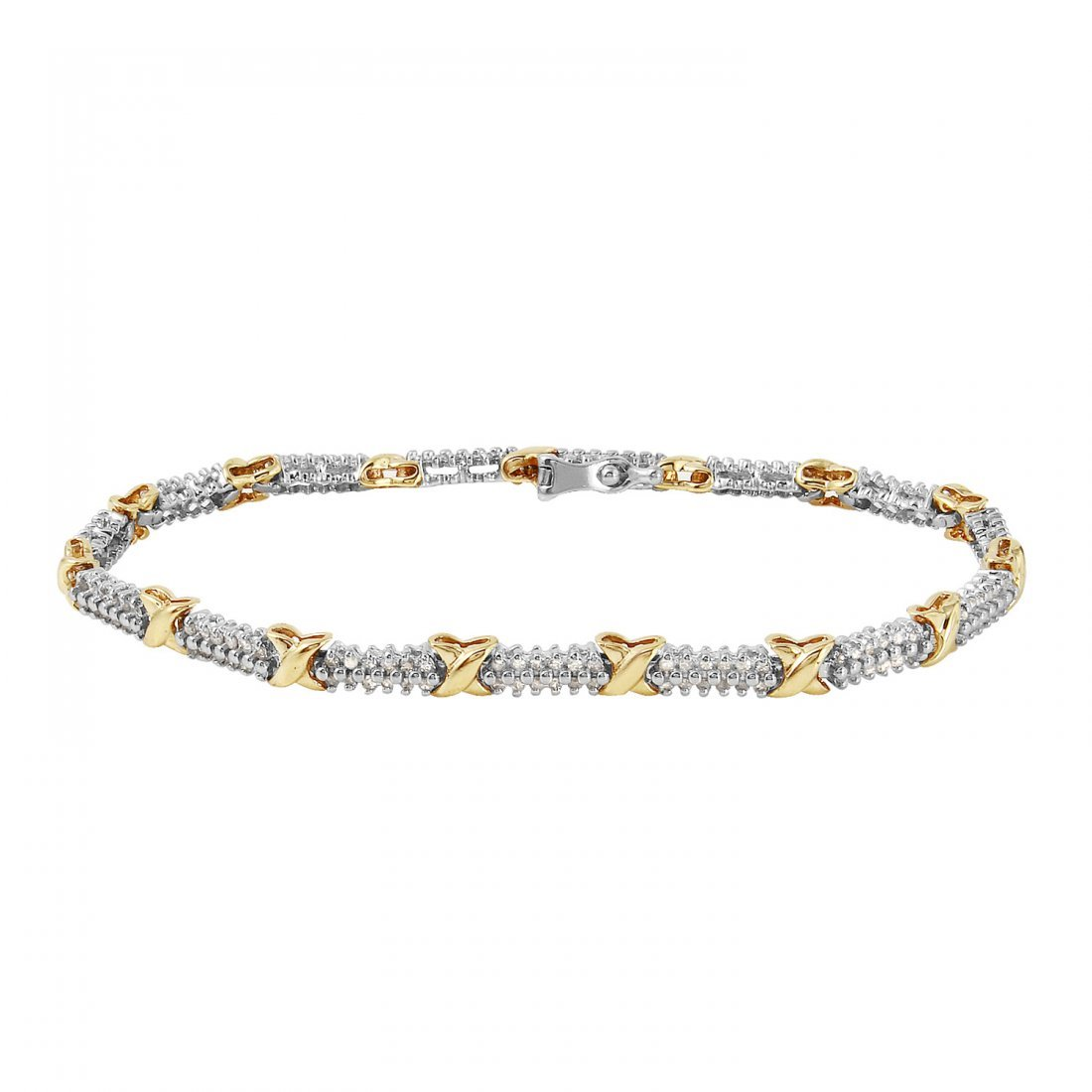 Ladies 1CTW Diamond 10k Two-tone Gold Bracelet
