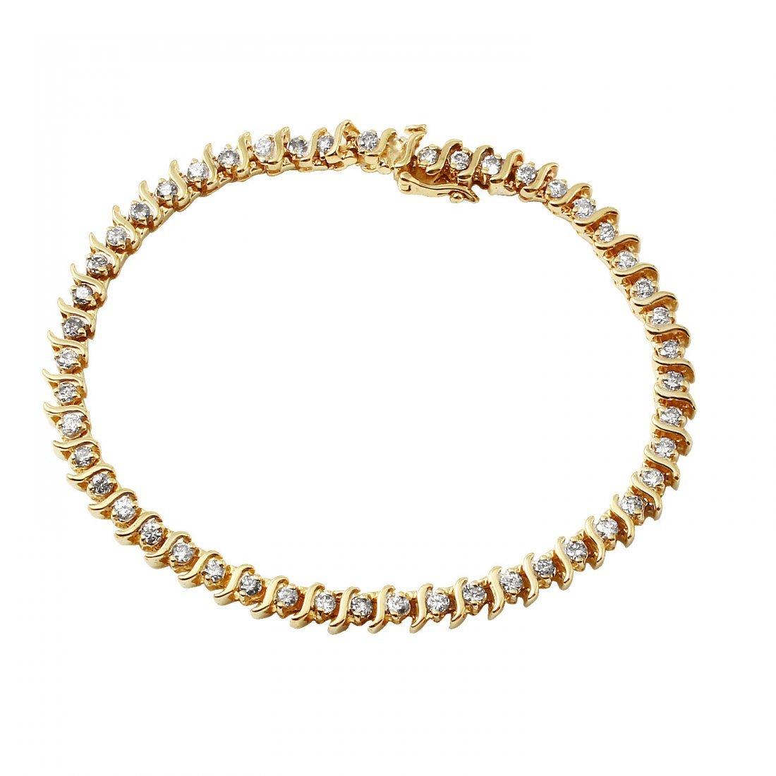 Ladies 1.5CTW Diamond 14K Yellow Gold Bracelet