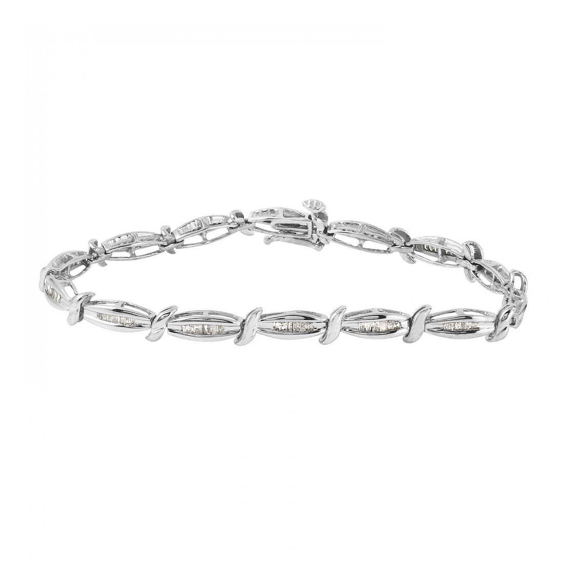 Ladies 1CTW Diamond 10k White Gold Bracelet