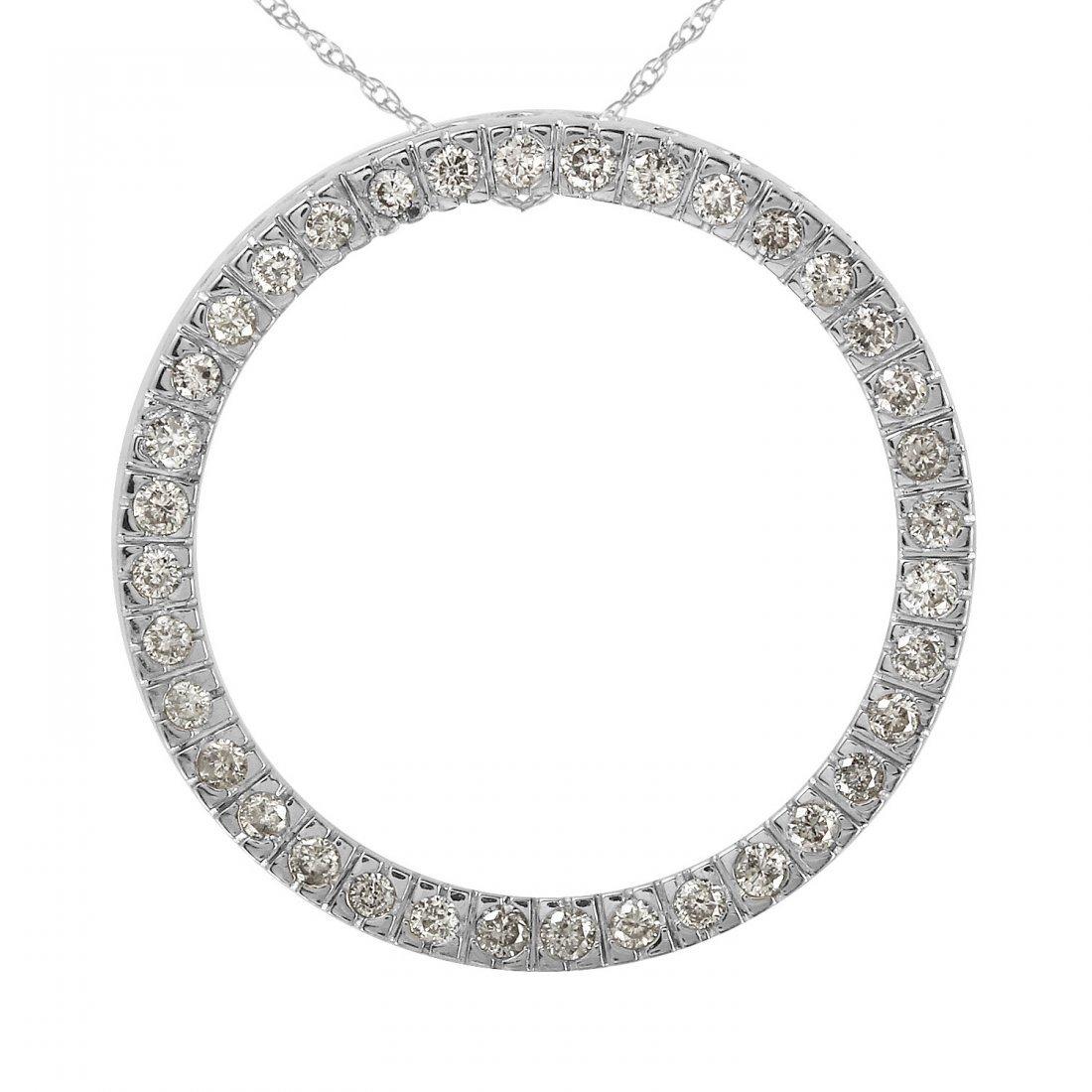 Ladies 0.54CTW Diamond 14K White Gold Necklace