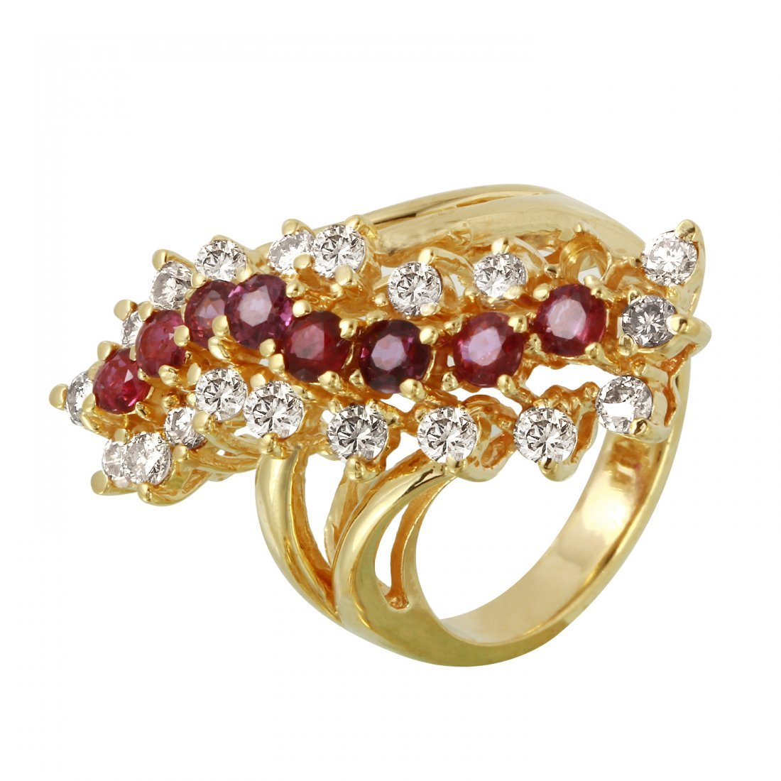 Ladies 2.8CTW Ruby And Diamond 14K Yellow Gold Ring