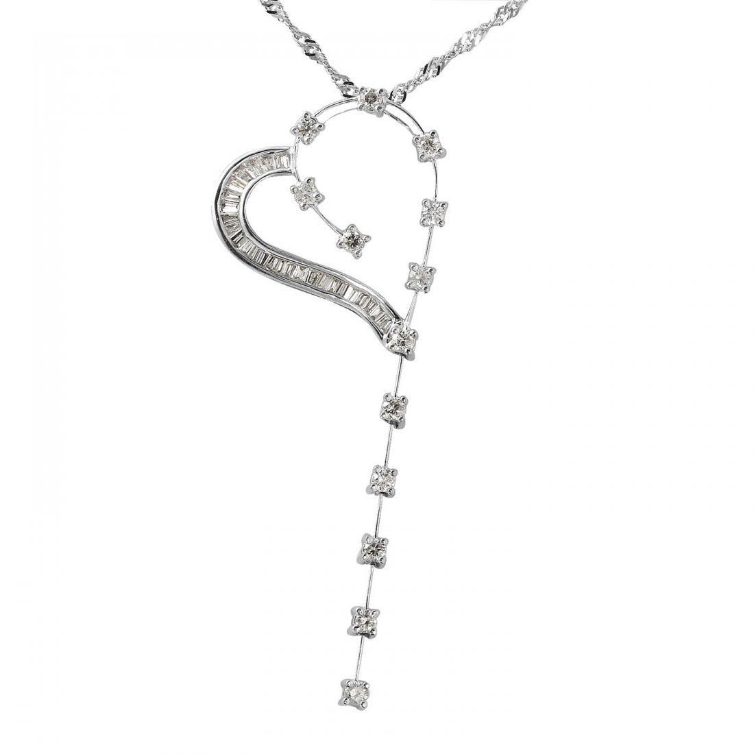 Ladies 0.76CTW Diamond 18k White Gold Necklace