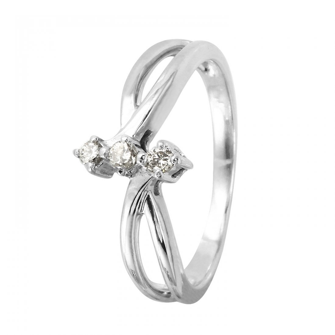 Ladies 0.06CTW Diamond 14K White Gold Ring