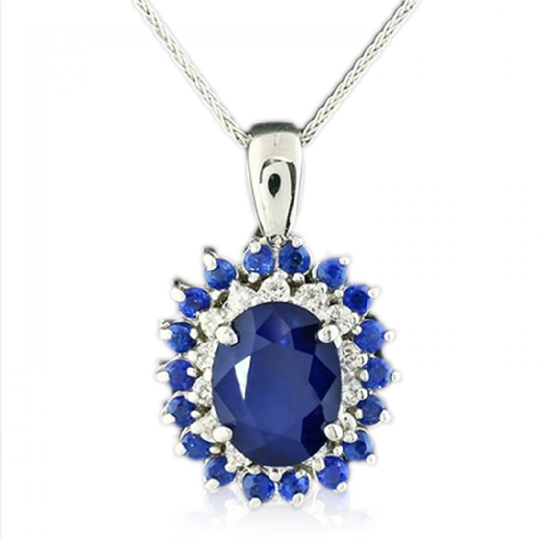 14K Sapphire And Diamond Necklace