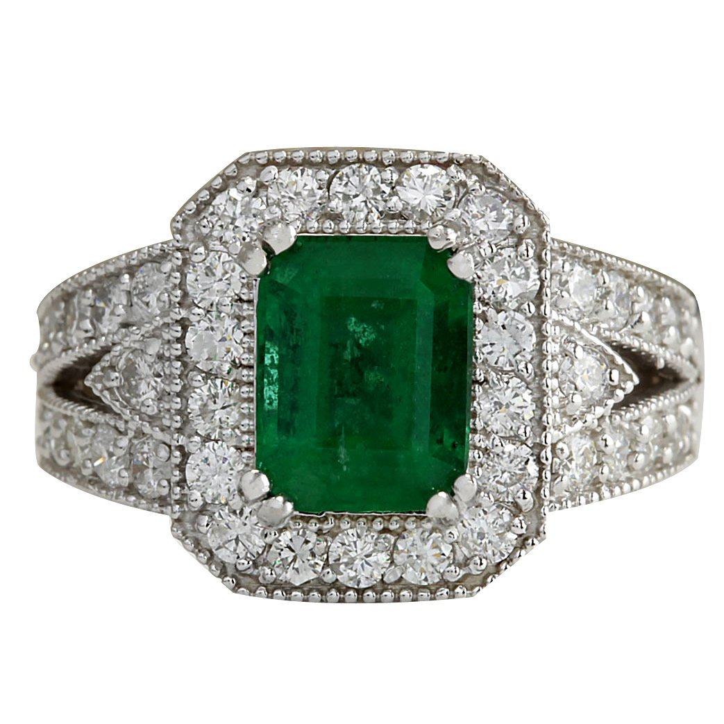 3.23CTW Natural Colombian Emerald And Diamond Ring 14K