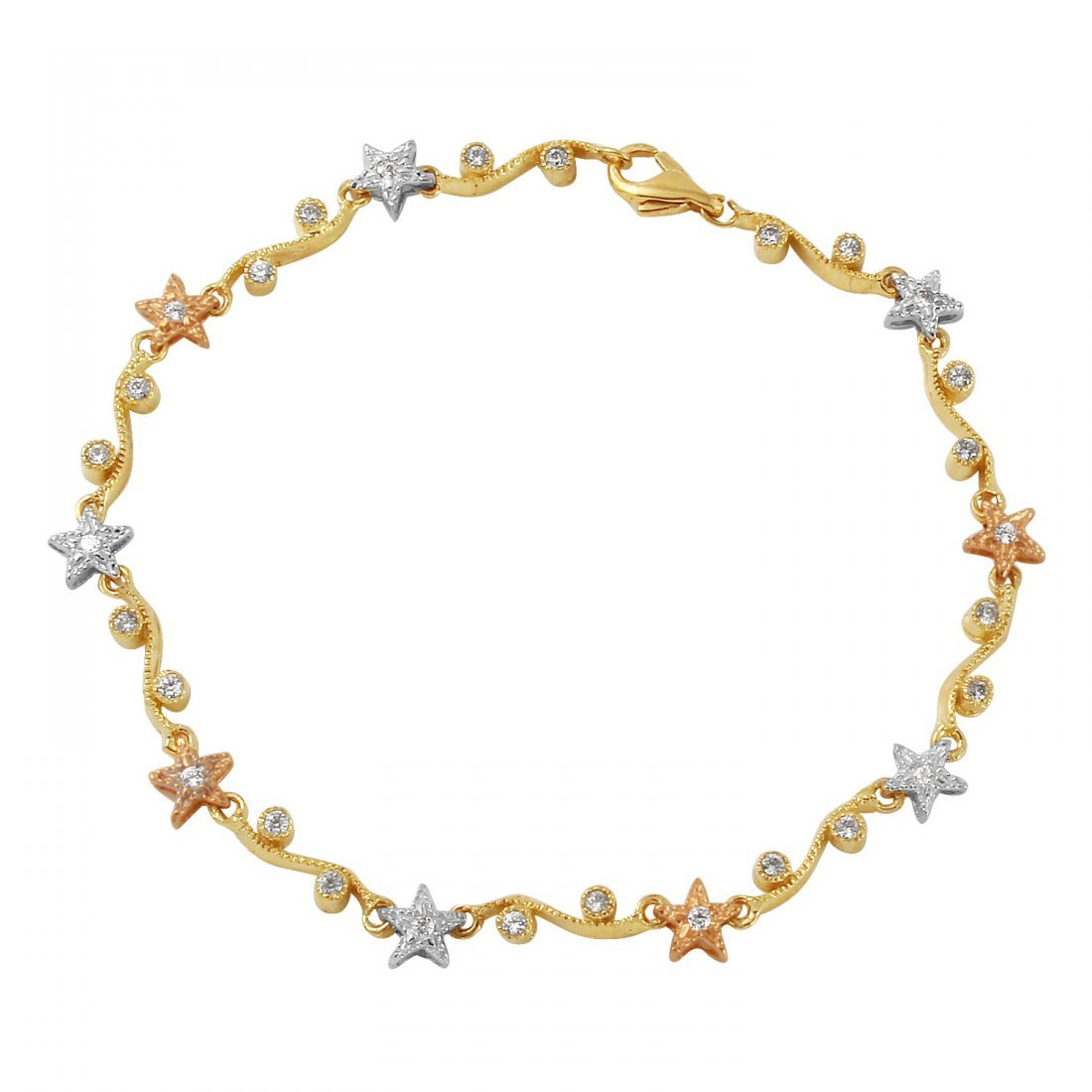 Ladies Cubic Zirconia 14K Three tone Gold Bracelet