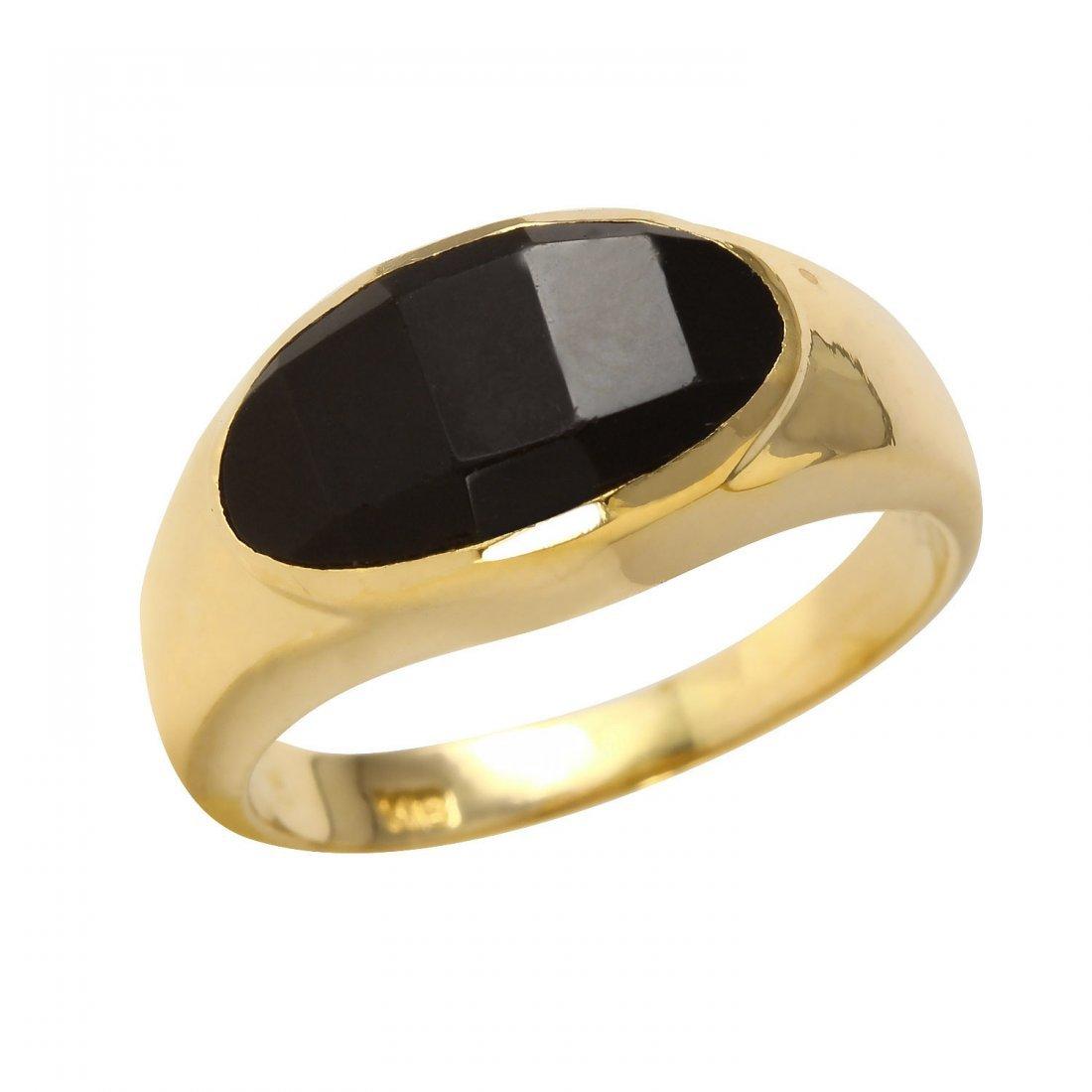 Ladies Onyx 18k Yellow Gold Ring