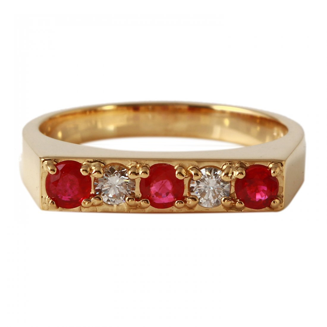 Ladies 0.64CTW Ruby And Diamond 14K Yellow Gold Ring