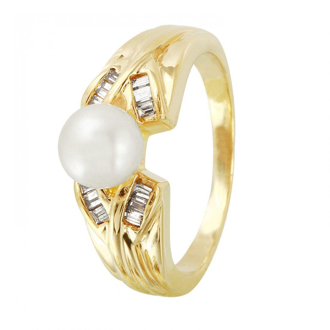 Ladies 0.1CTW Freshwater Pearl And Diamond 14K Yellow