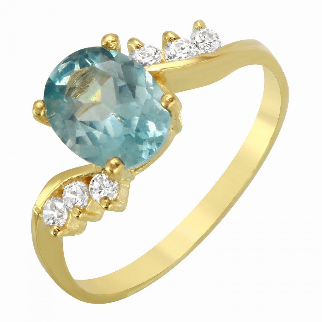 Ladies 14K Yellow Gold Ring With Aquamarine Cubic