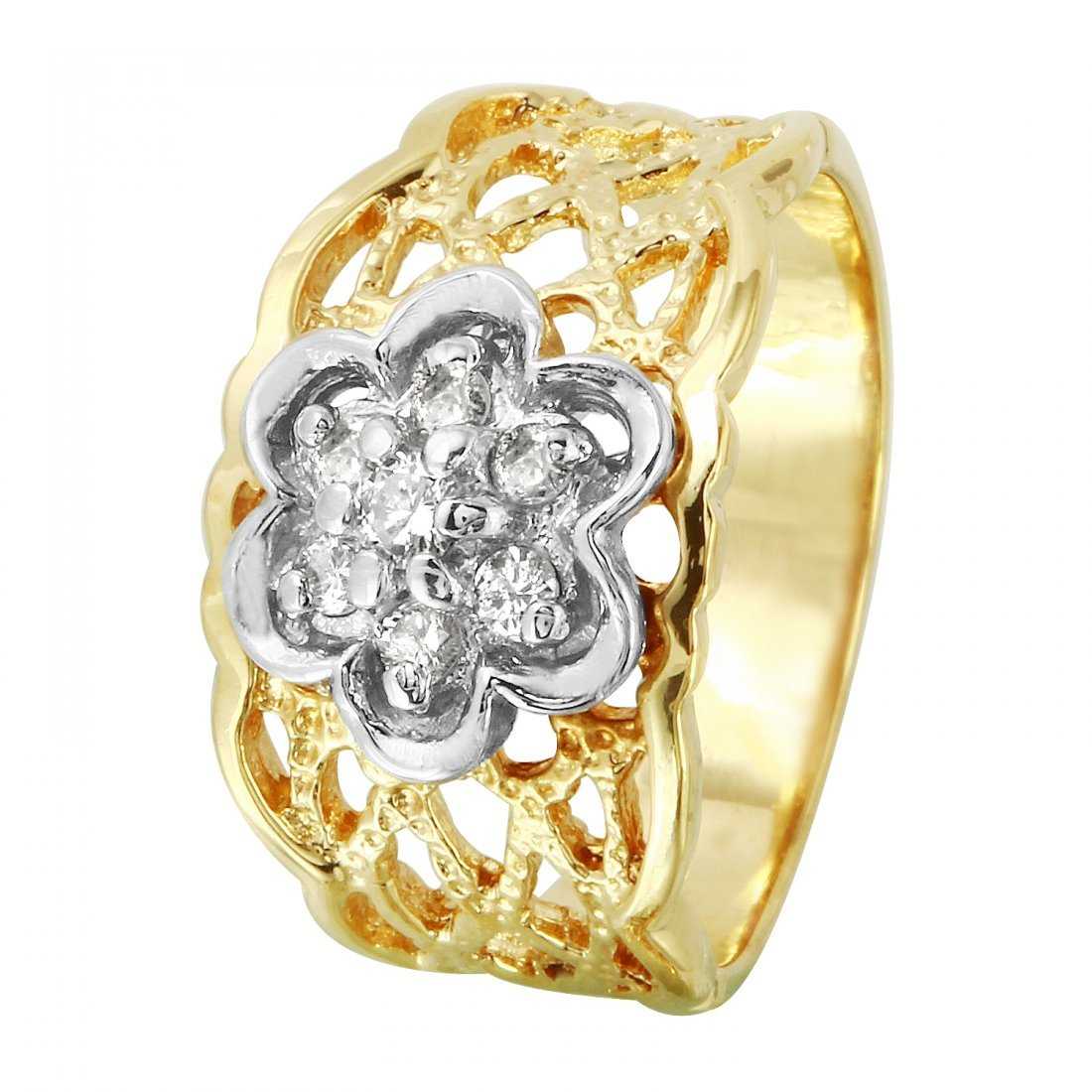 Ladies 0.2CTW Diamond 14K Two-tone Gold Ring