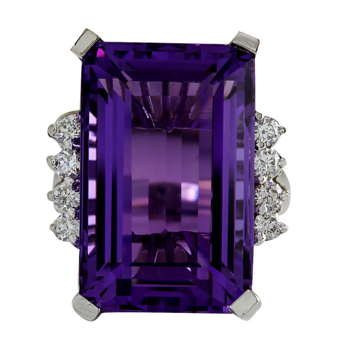 20.85CTW Natural Amethyst And Diamond Ring In 14K Solid
