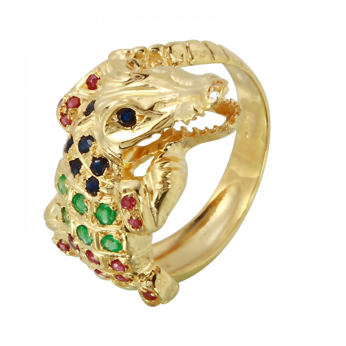 Ladies 0.88CTW Emerald And Ruby 14K Yellow Gold Ring
