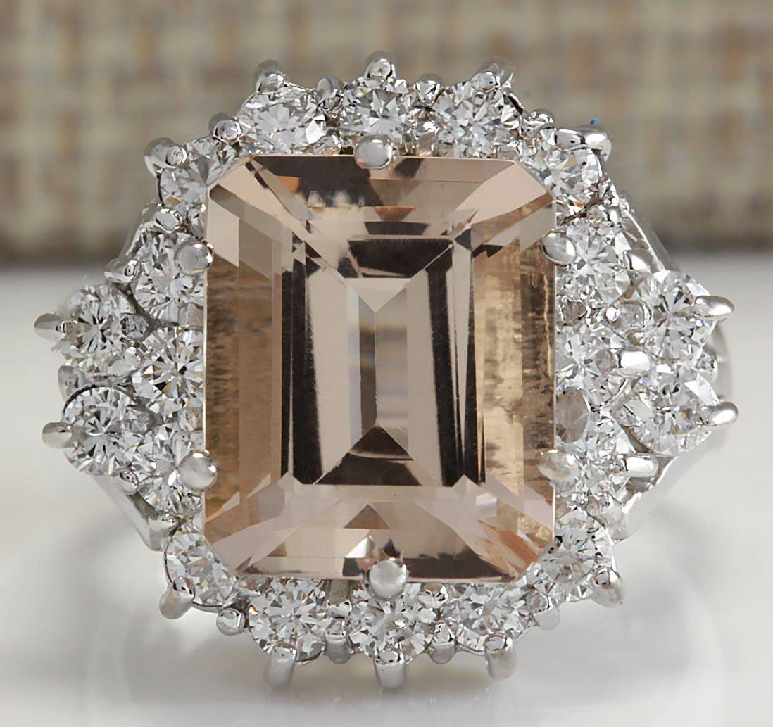 7.04CTW Natural Morganite And Diamond Ring 14K Solid