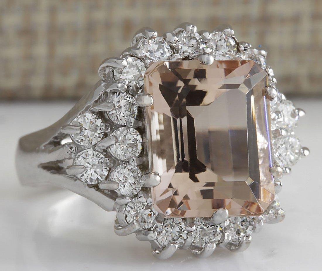 7.04CTW Natural Morganite And Diamond Ring 14K Solid - 2