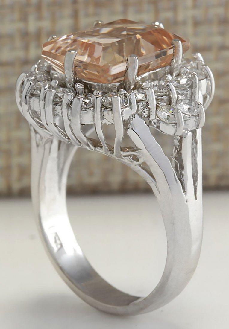 7.04CTW Natural Morganite And Diamond Ring 14K Solid - 3