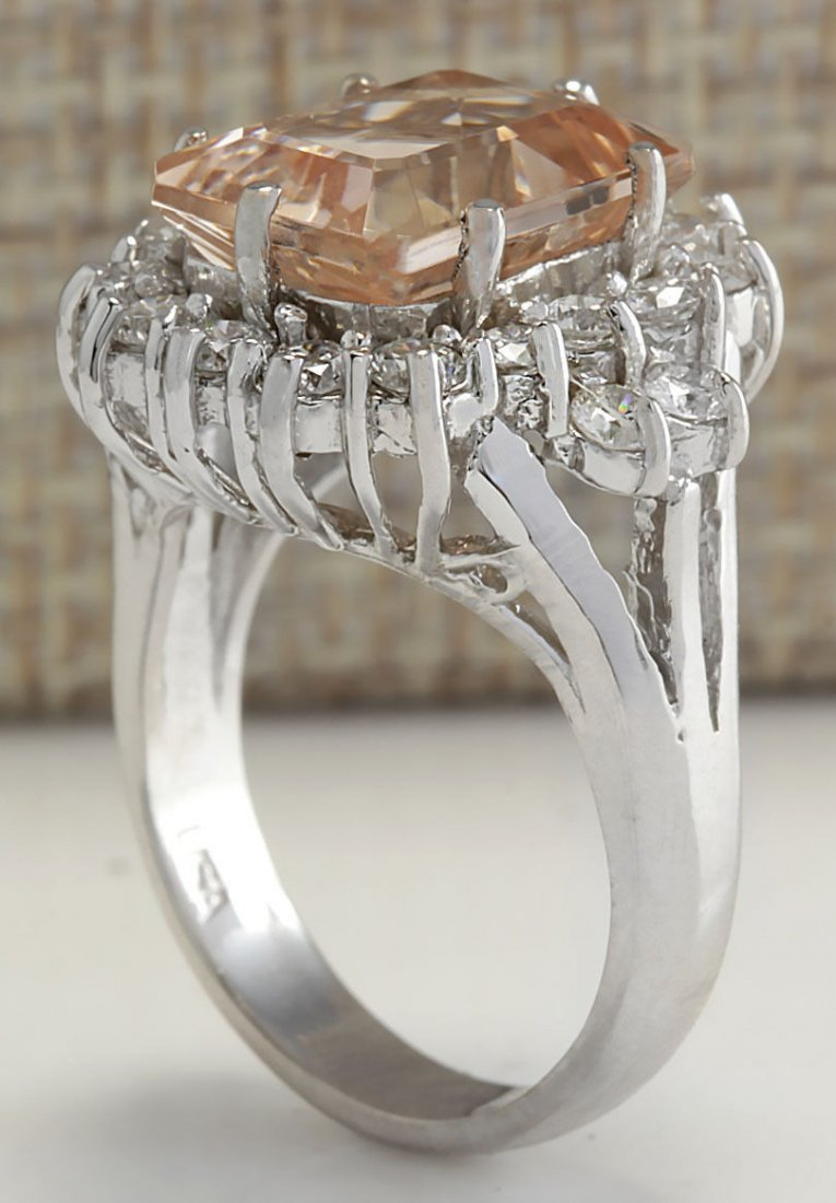 7.04CTW Natural Morganite And Diamond Ring 14K Solid - 3