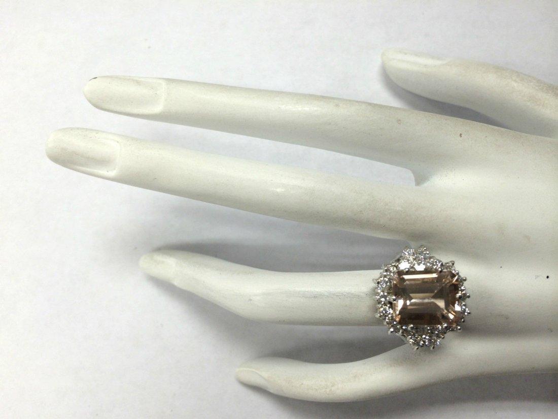 7.04CTW Natural Morganite And Diamond Ring 14K Solid - 4