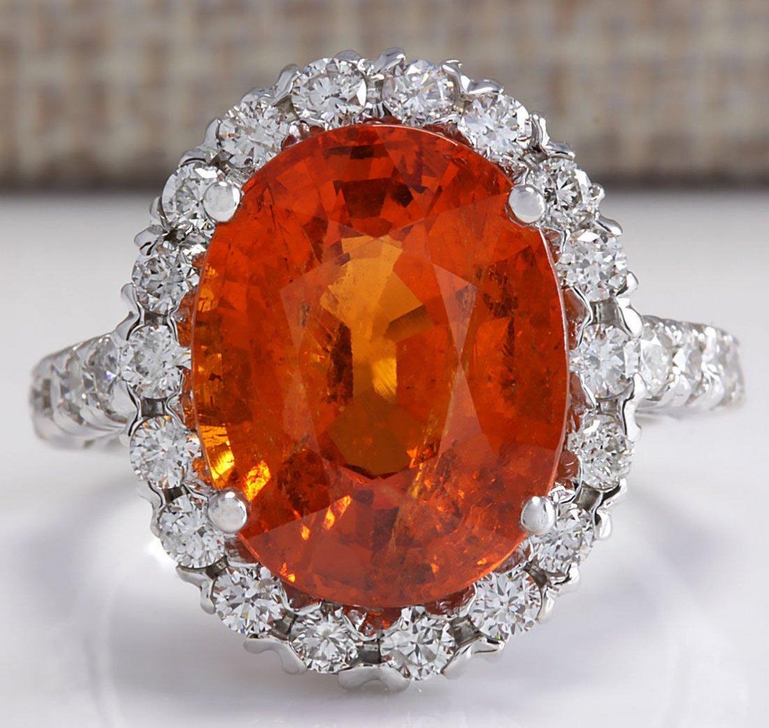 11.41Ct Natural Mandarin Garnet And Diamond Ring In14K