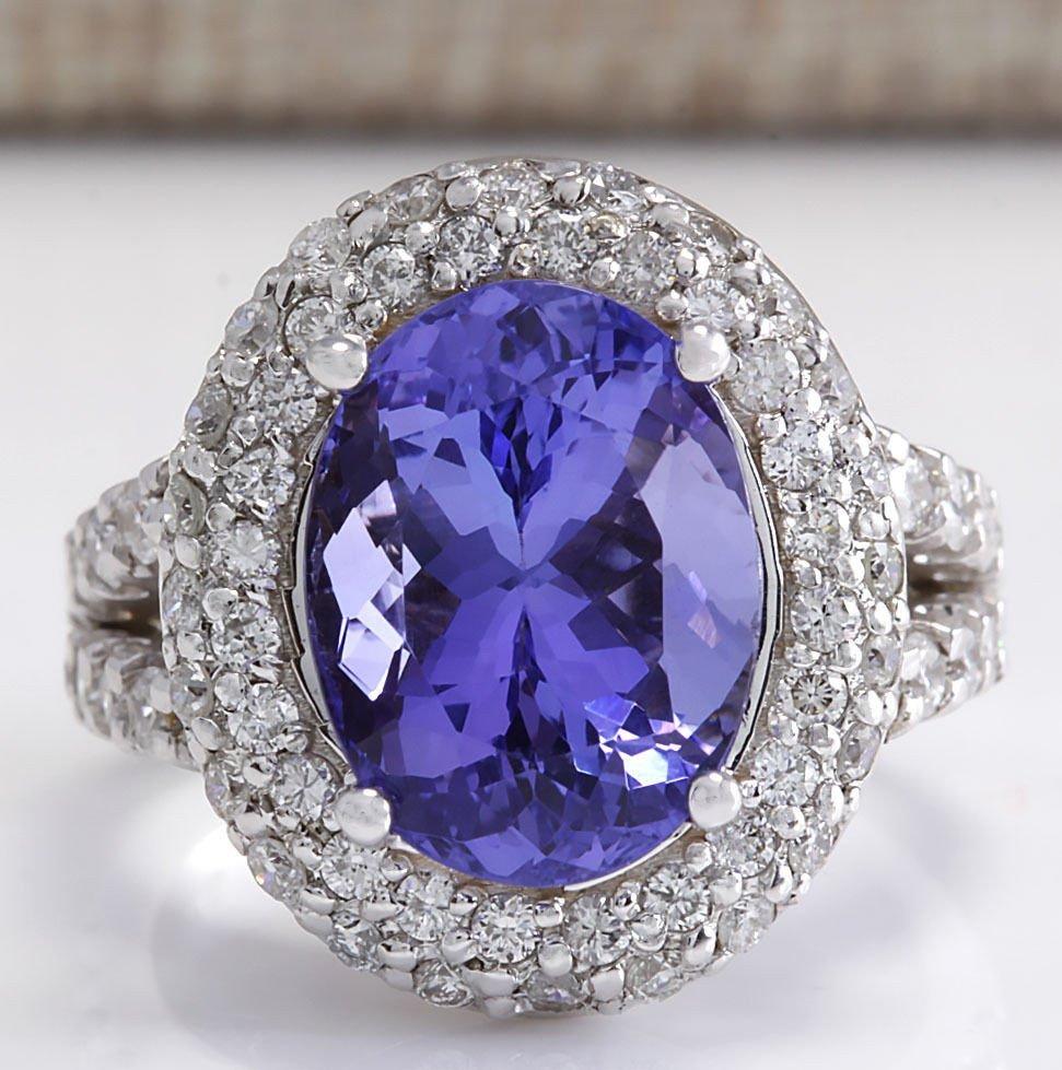 9.85CTW Natural Blue Tanzanite And Diamond Ring 14K