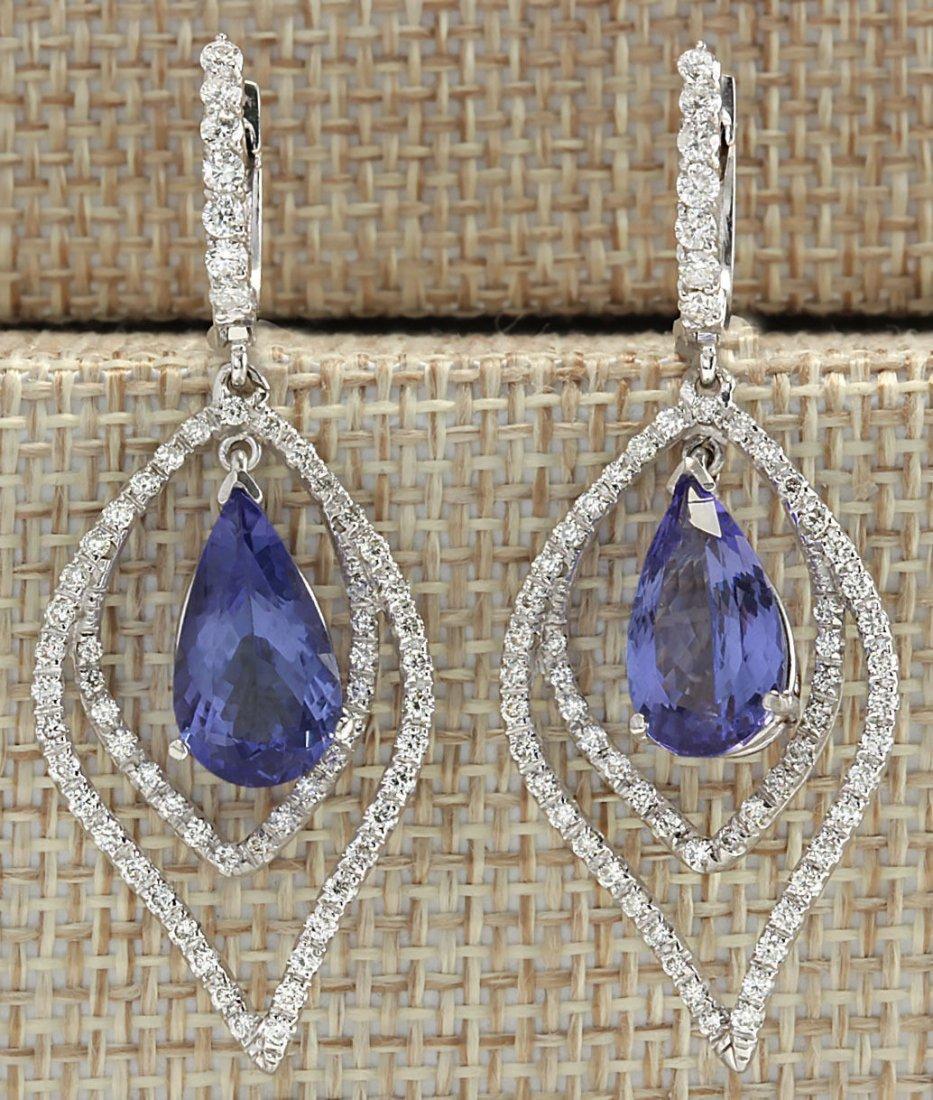 9.67CTW Natural Tanzanite And Diamond Earrings 14K