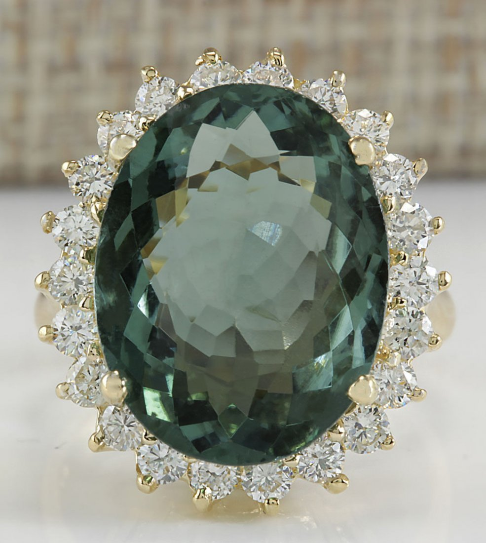 9.51CTW Natural Tourmaline And Diamond Ring In 14K