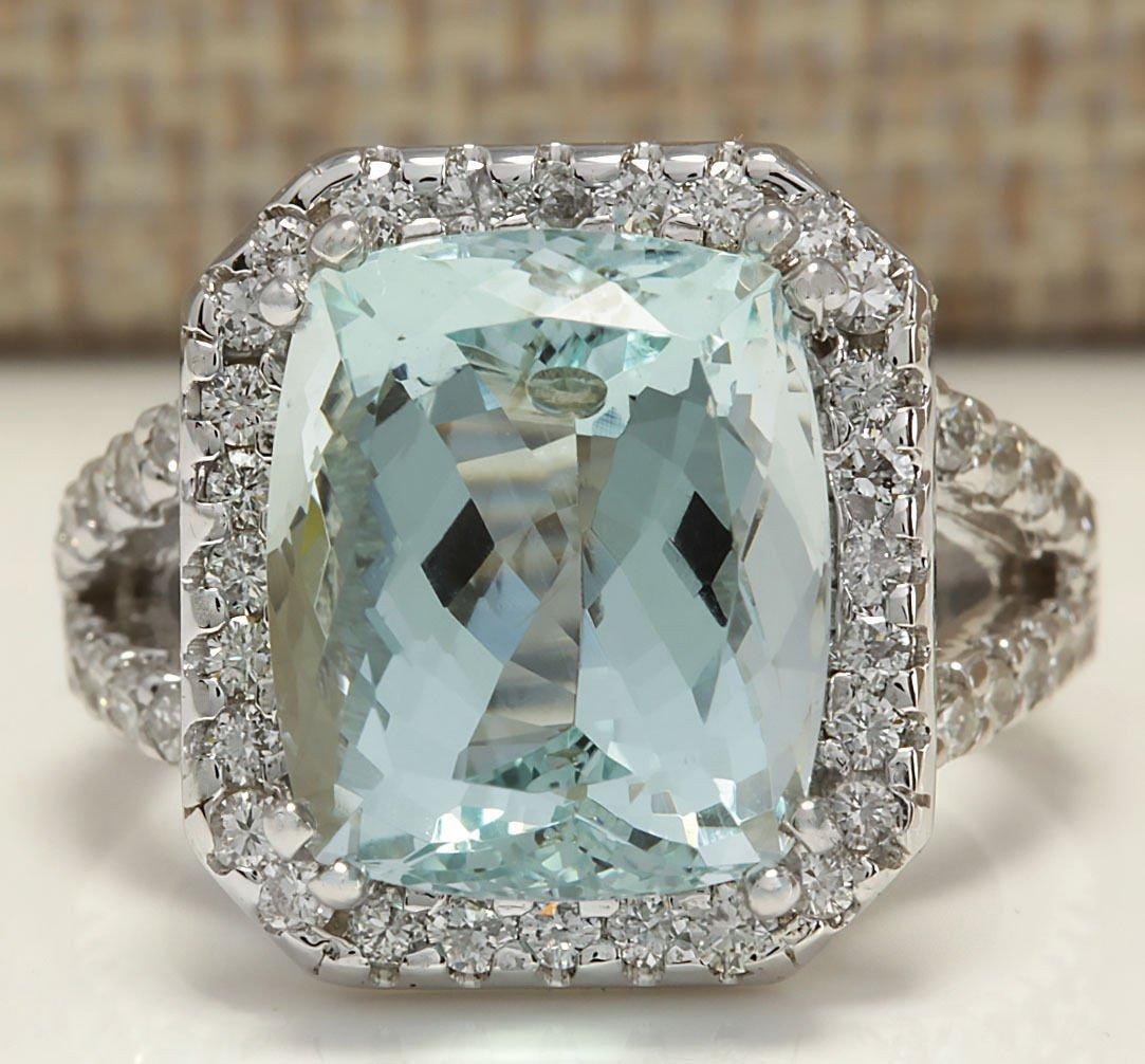 9.50CTW Natural Aquamarine And Diamond Ring In 14K