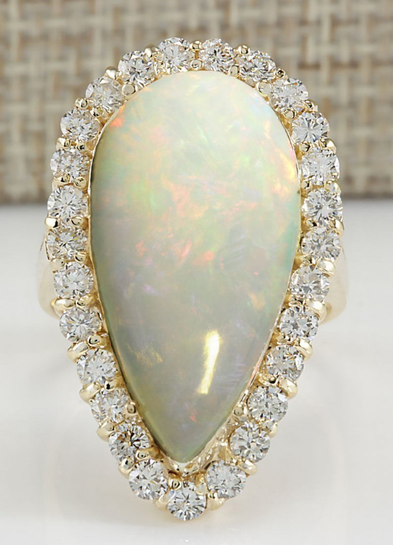 9.39CTW Natural Opal And Diamond Ring 14K Solid Yellow