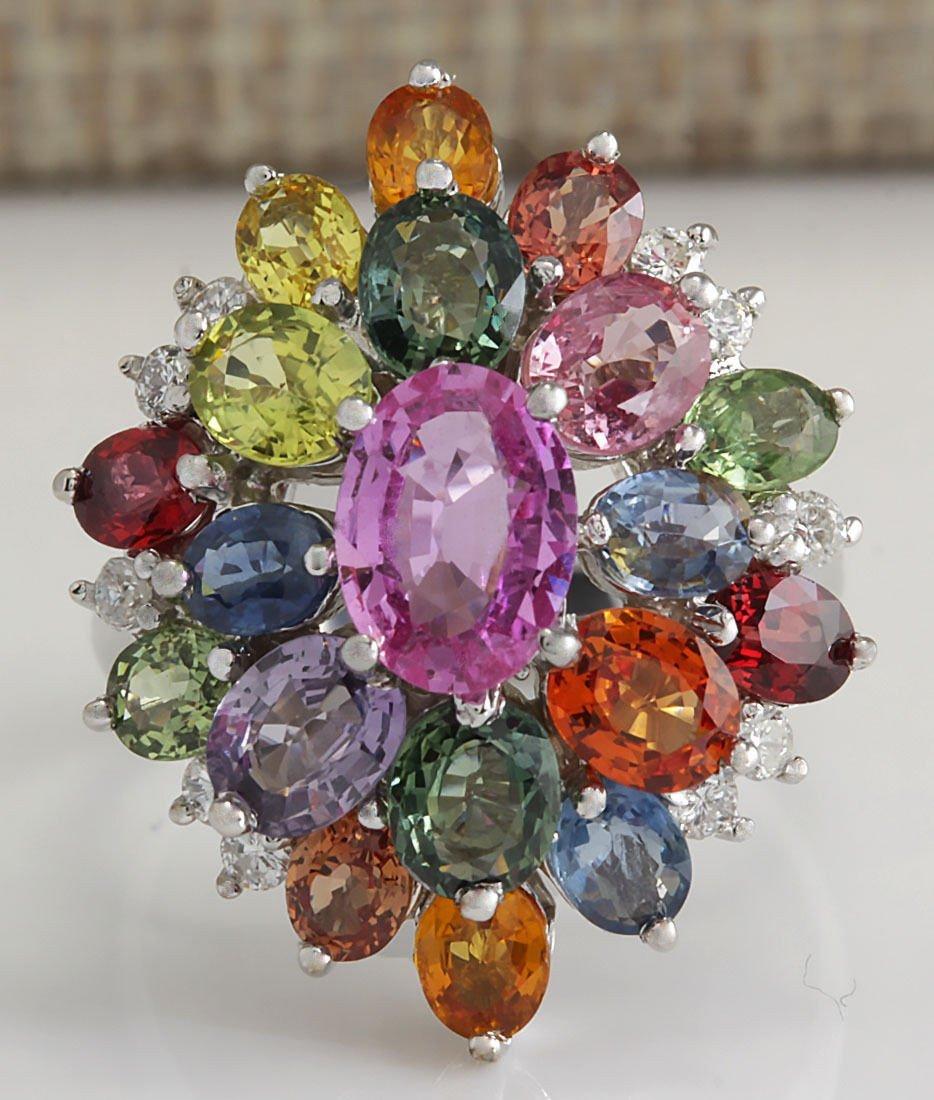 7.63Ct Natural Ceylon Sapphire And Diamond Ring In14K